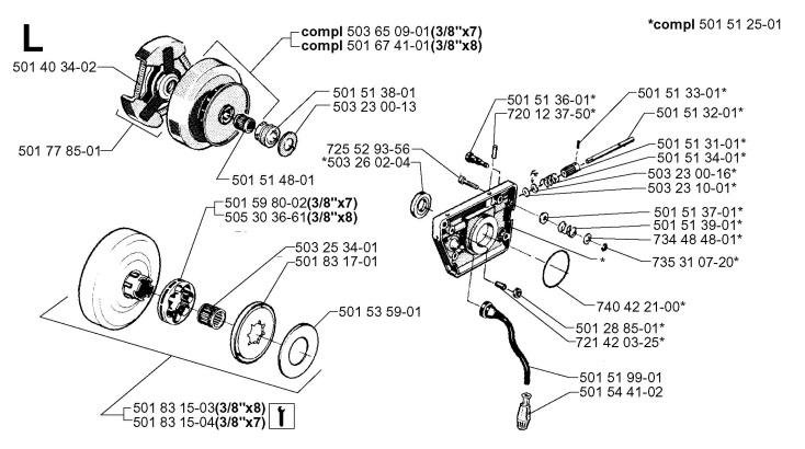 Husqvarna 61 (1999-08) Chainsaw CLUTCH & OIL PUMP Spare Parts Diagram