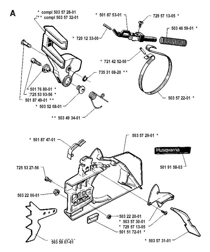 Husqvarna 254 1990 05 Chainsaw Chain Brake Spare Parts Diagram