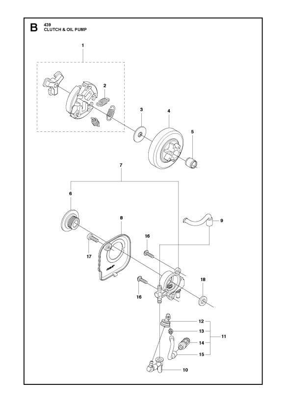 Husqvarna06683 husqvarna 439 chainsaw clutch & oil pump spare parts diagram