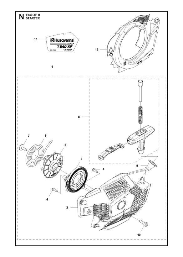 Husqvarna T540 Xp Ii Chainsaw Starter Spare Parts Diagram
