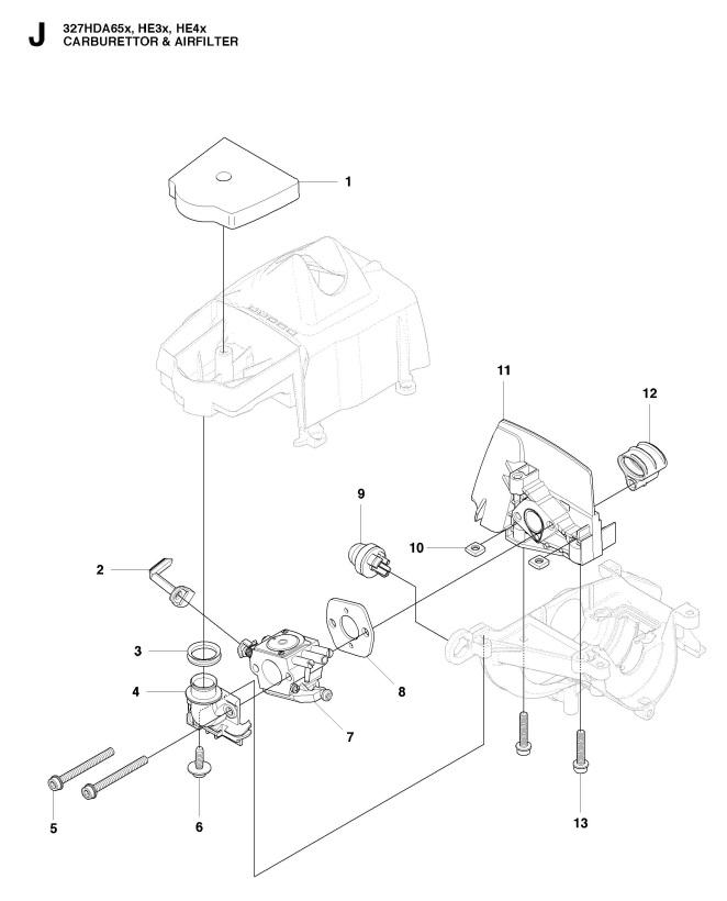Husqvarna 327 He3 X Series 2015 02 Hedge Trimmer Carburetor Air