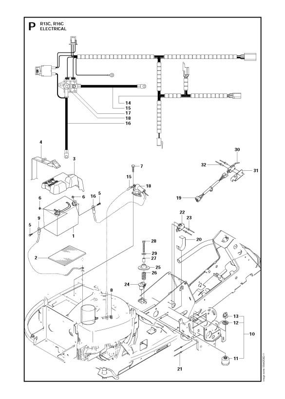 husqvarna rider 13 c (965094301) ride on mower electrical spare parts  diagram