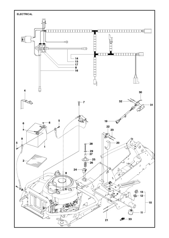 husqvarna r214 tc  967325901  ride on mower electrical spare parts diagram