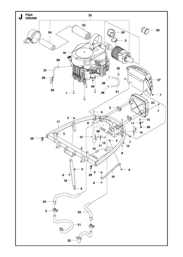 husqvarna p524  966607201  ride on mower engine spare parts diagram