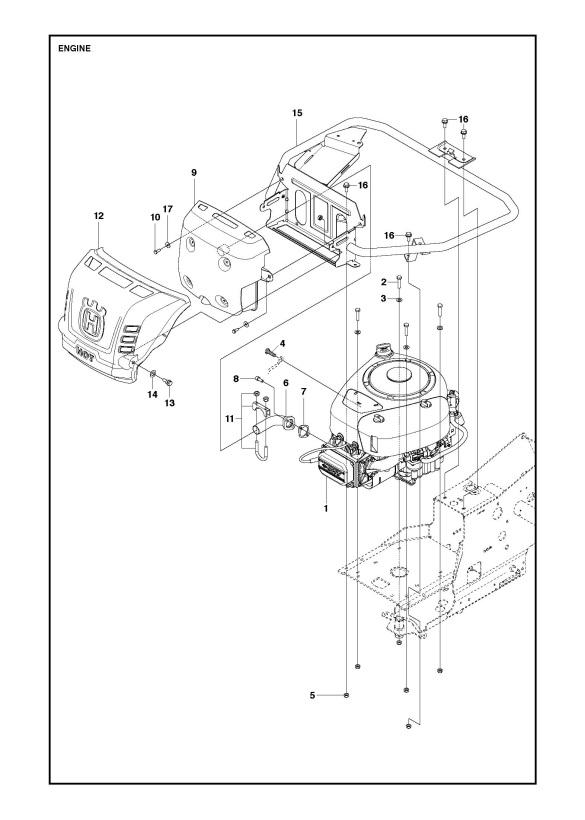 husqvarna r216  967150601  ride on mower engine spare parts diagram