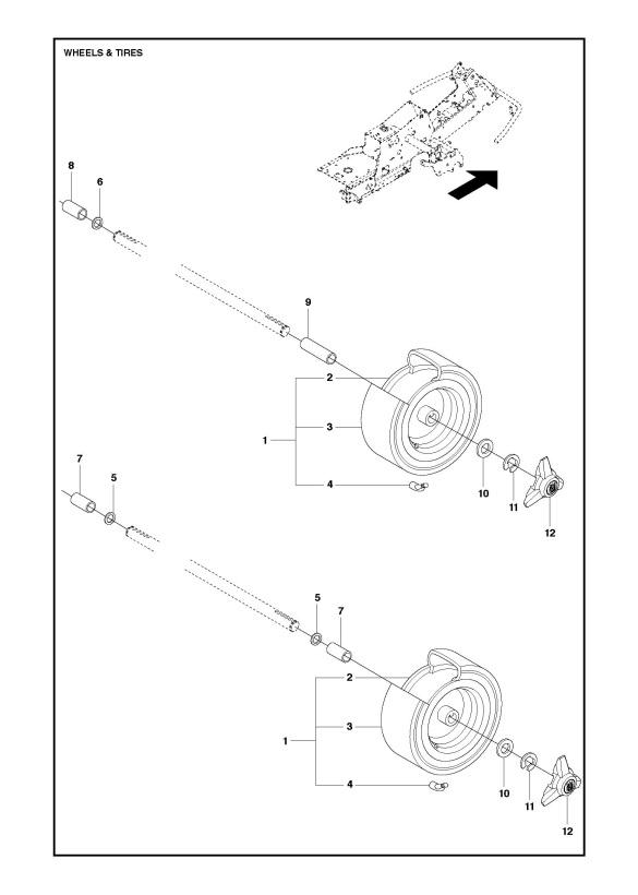 Husqvarna R216 Awd  967150701  Ride On Mower Wheels  U0026 Tires Spare Parts Diagram