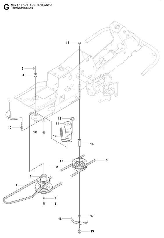 Husqvarna Rider 155 Awd  965178701  Ride On Mower Transmission Spare Parts Diagram