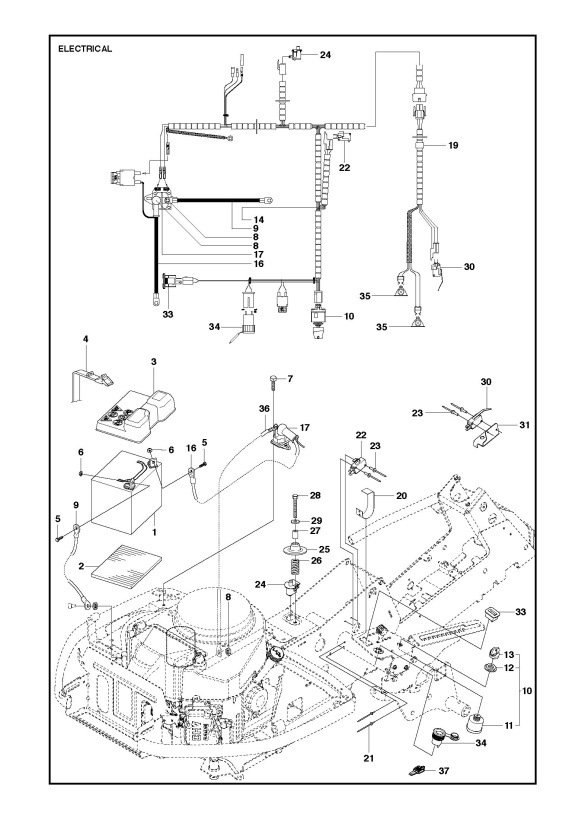 husqvarna r316 ts awd  967291801  ride on mower electrical spare parts diagram