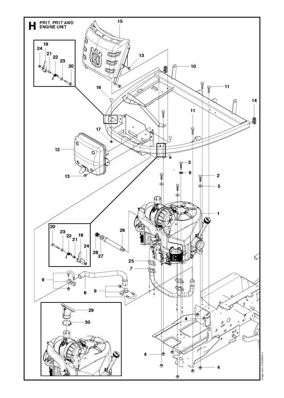 Husqvarna Pr17 966772601 Ride On Mower Engine Spare Parts Diagram