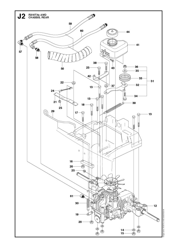 husqvarna r316 txs awd  966757801  ride on mower chassis rear spare parts diagram