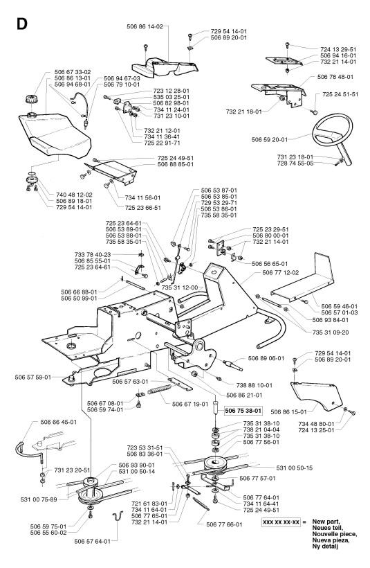 Husqvarna Proflex 21  2002  Frame Spare Parts Diagram
