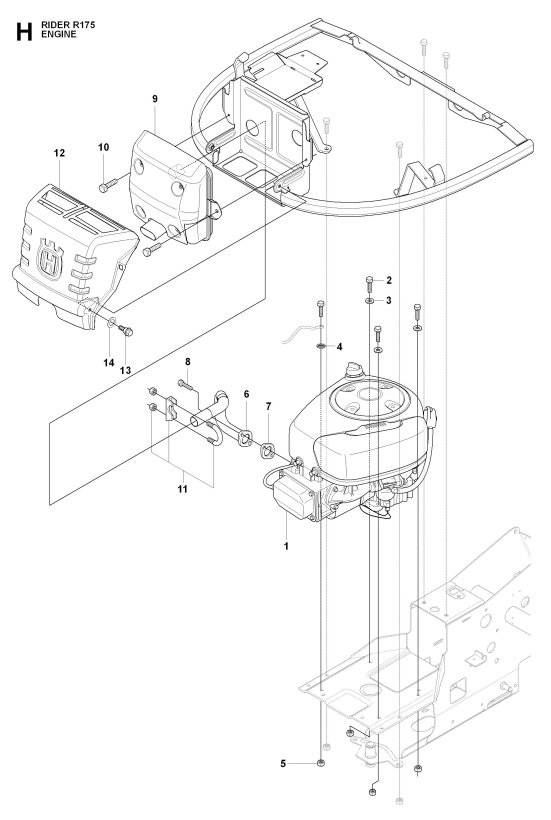 Husqvarna Rider 175 965104901 Ride On Mower Engine Spare Parts Diagram
