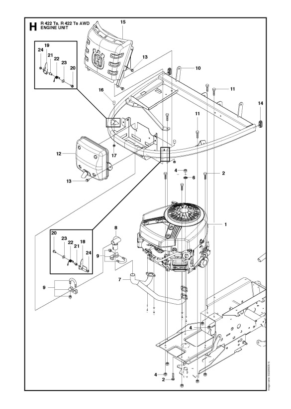 Husqvarna R422 Ts 966772801 Ride On Mower Engine Spare Parts Diagram