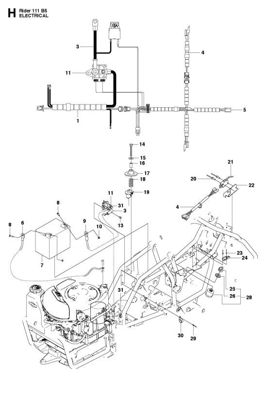 Husqvarna R111 B5  965996701  Ride On Mower Electrical