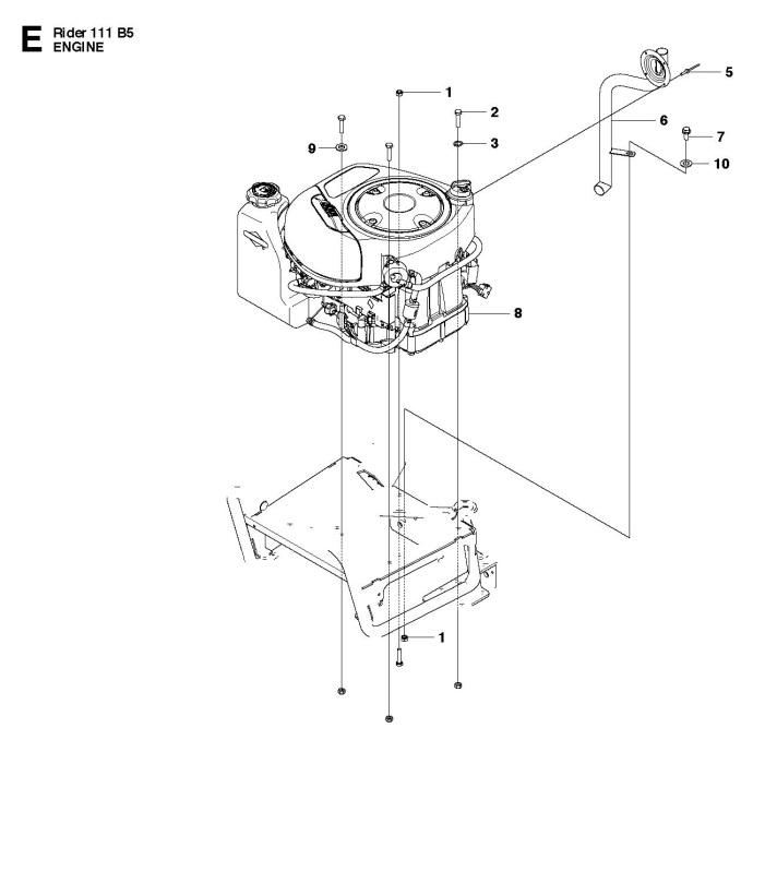 Husqvarna R111 B5  965996701  Ride On Mower Engine Spare