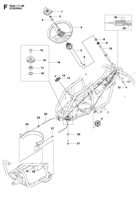 Husqvarna R111 B5  965996701  Ride On Mower Steering Spare