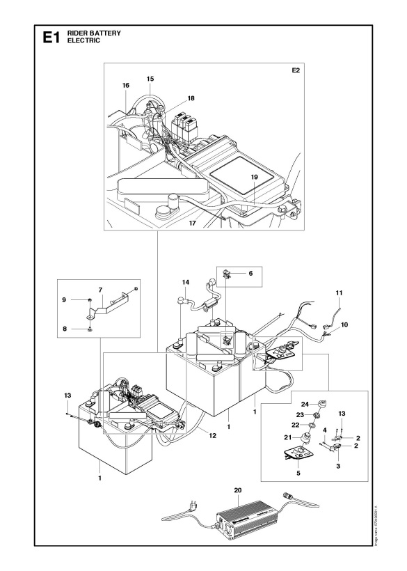 Husqvarna Rider Battery 966800801 Ride On Mower Electrical Spare