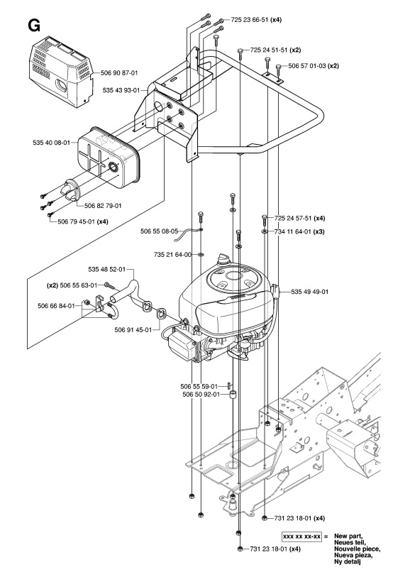 Husqvarna RIDER 13 AWD (965079901) Ride On Mower ENGINE Spare Parts ...