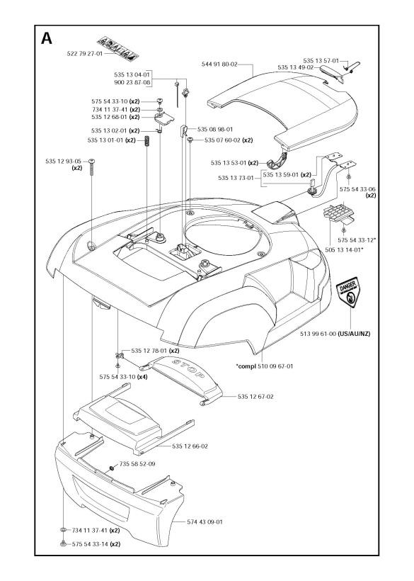 husqvarna automower 220 ac 2011 01 robotic lawnmower cover spare parts diagram. Black Bedroom Furniture Sets. Home Design Ideas