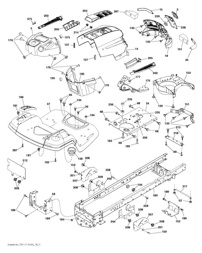Husqvarna Ts 138 96041036701 Ride On Mower Chassis Enclosures