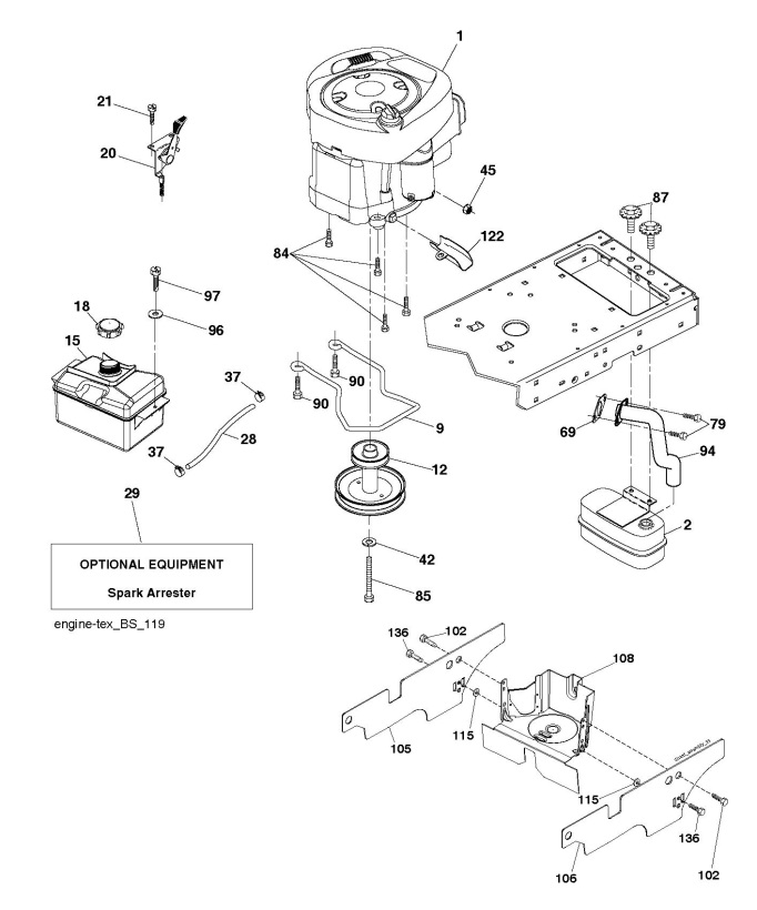 Husqvarna Ts 138 96041036701 Ride On Mower Engine Spare Parts Diagram