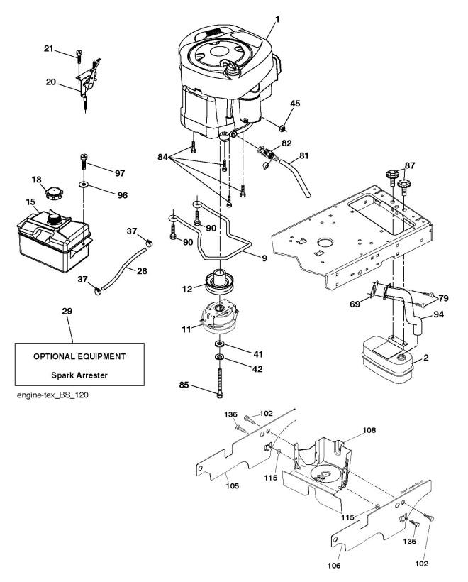 husqvarna ts 238  96041036902  ride on mower engine spare parts diagram