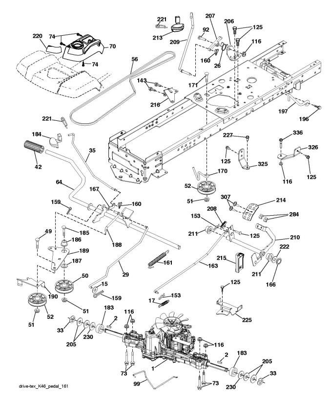 Husqvarna Ts 342 96041037100 Ride On Mower Drive Spare Parts Diagram