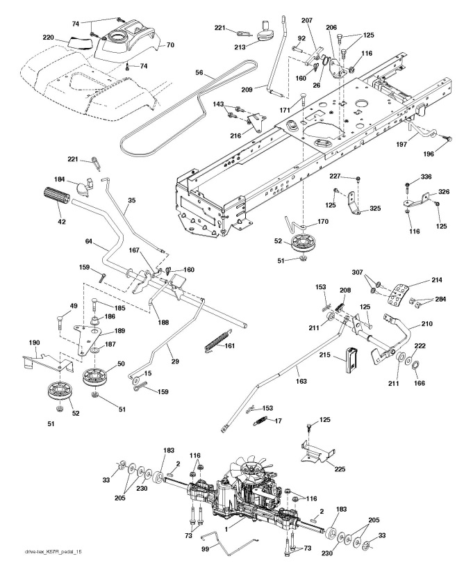 Husqvarna Ts 346 96041037200 Ride On Mower Drive Spare Parts Diagram