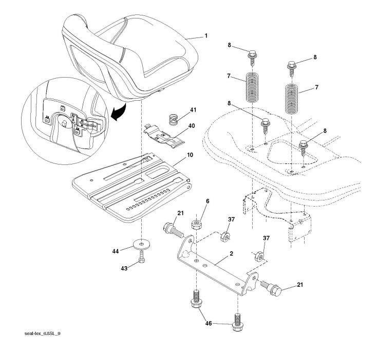 Husqvarna Ts 38 96041036601 Ride On Mower Seat Spare Parts Diagram