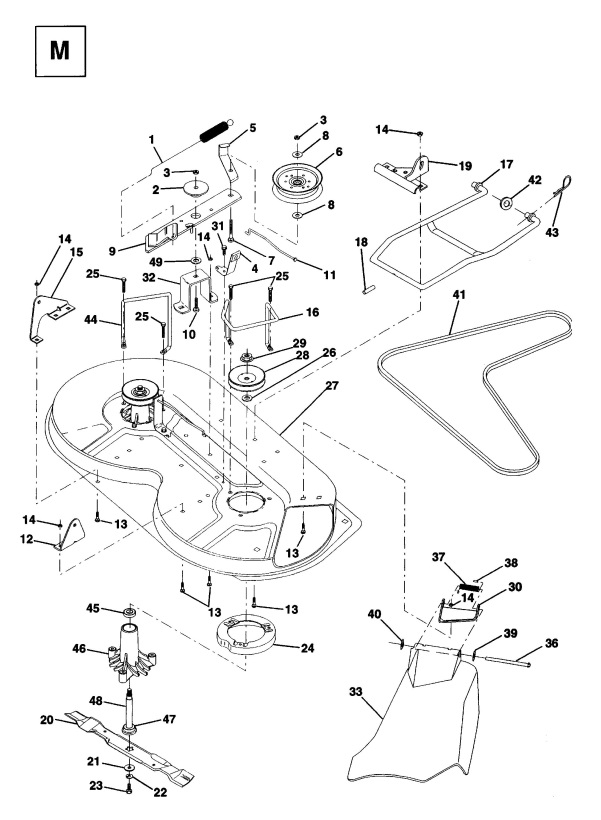 Husqvarna Lt120  1994  Cutting Deck Spare Parts Diagram