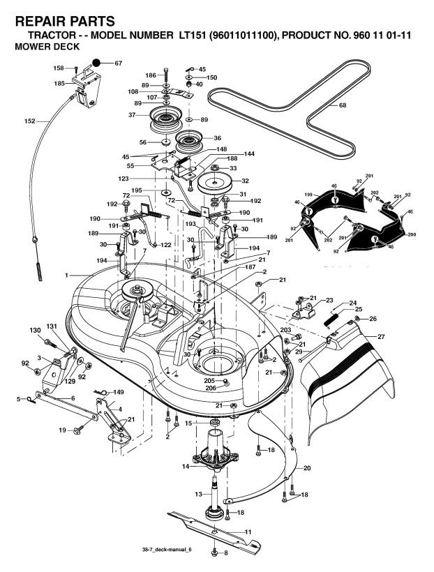 husqvarna lt151 960110111 ride on mower mower deck cutting deck rh ransomspares co uk husqvarna deck assembly husqvarna yth24v48 deck diagram
