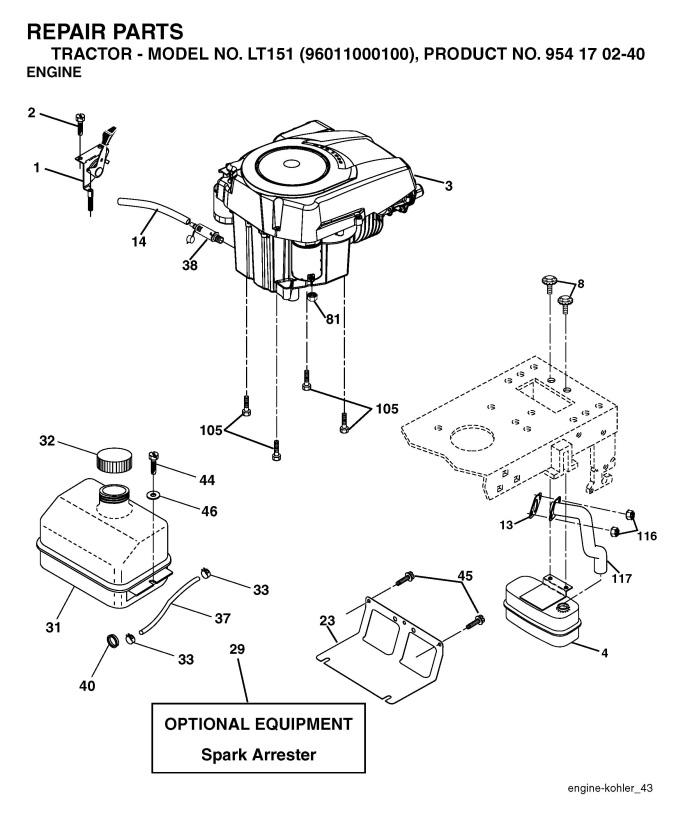 husqvarna lt151  954170240  ride on mower engine spare parts diagram