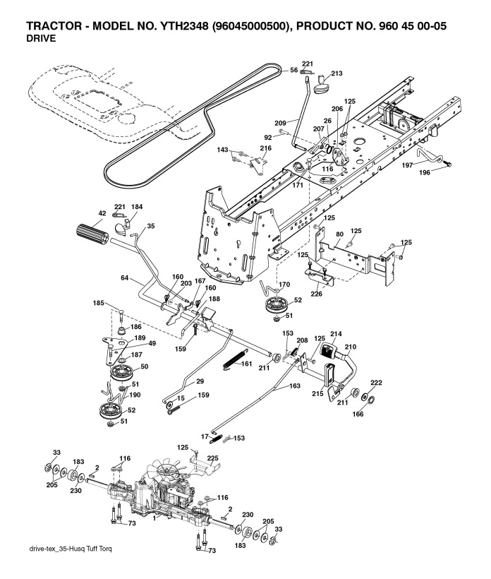 Husqvarna22837 husqvarna yth2348 (960450005) ride on mower drive spare parts diagram