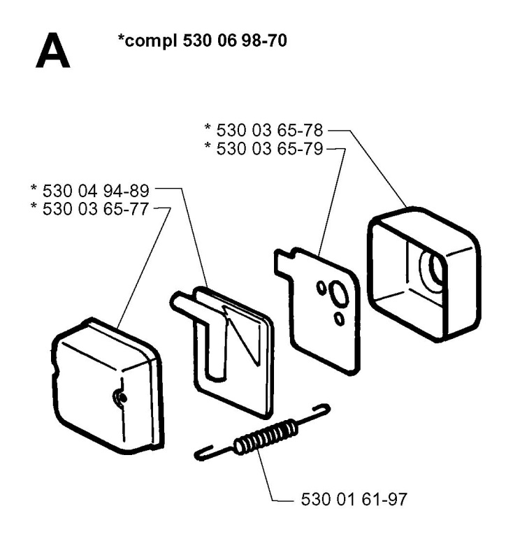 Husqvarna Mondo 1997 04 Trimmer Air Filter Spare Parts Diagram