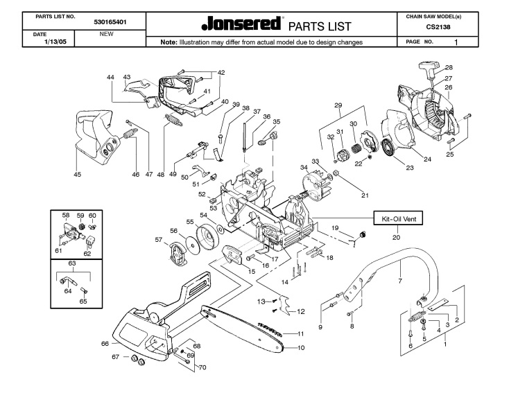 Jonsered Cs2138 2005 01 Chainsaw Crankcase Spare Parts