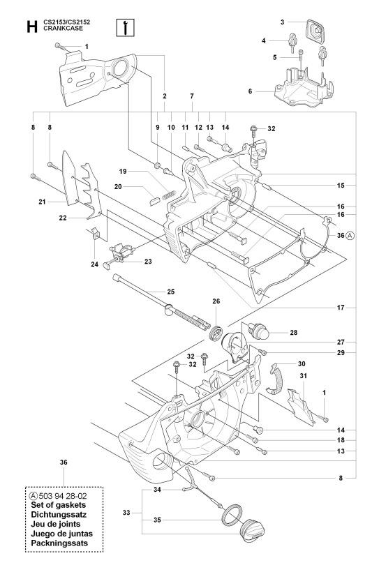 Jonsered Cs2152 2009 02 Chainsaw Crankcase Spare Parts Diagram