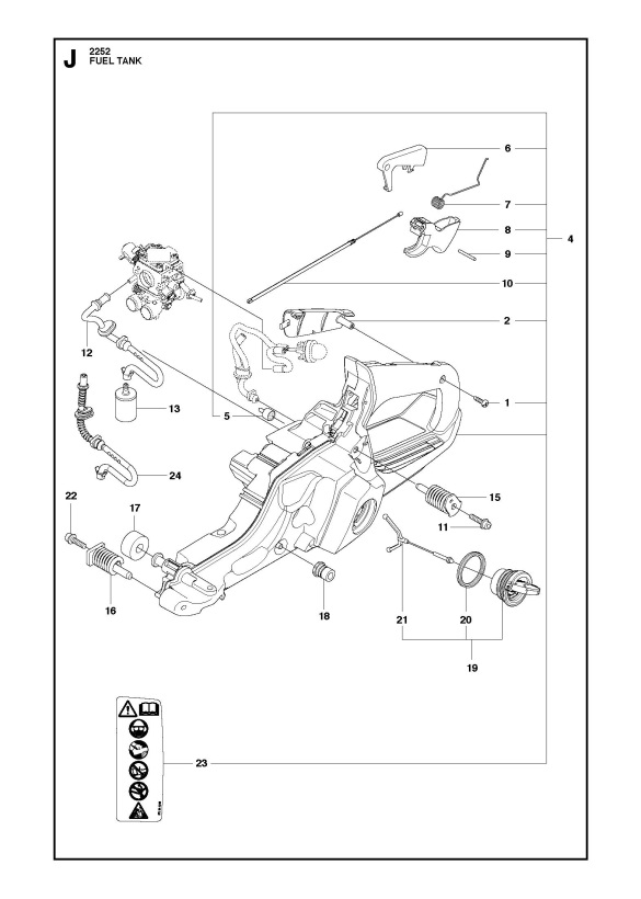 Jonsered Cs2252 Chainsaw Fuel Tank Spare Parts Diagram