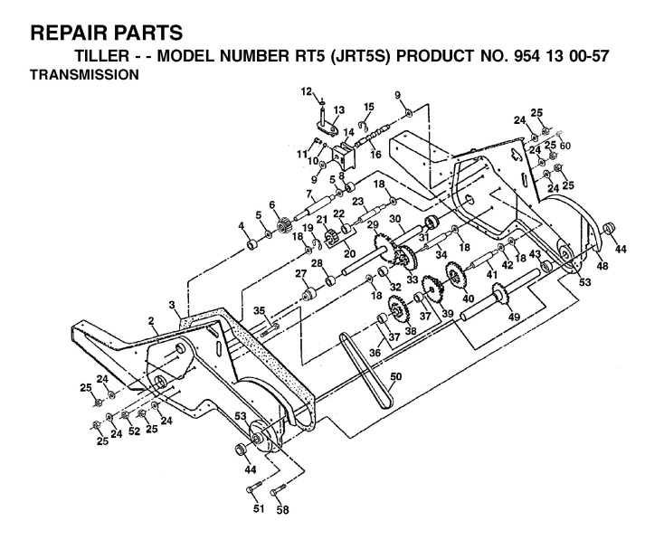 jonsered rt5 jrt5s (954130057) cultivator transmission spare parts diagram