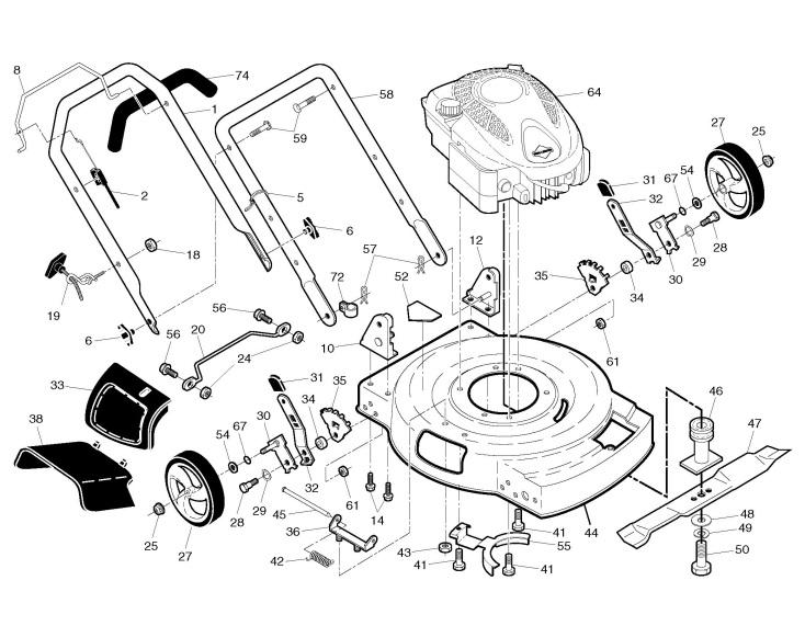 Jonsered LM 2155 MD (96121001902) Lawnmower FRAME & ENGINE Spare