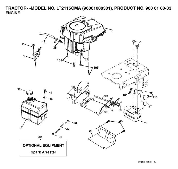 jonsered lt 2115 cma  960610083  ride on mower engine spare parts diagram