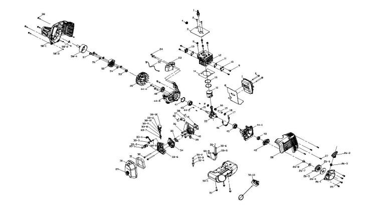Mcculloch Mac 426 L  965980601  Trimmer Engine Spare Parts Diagram
