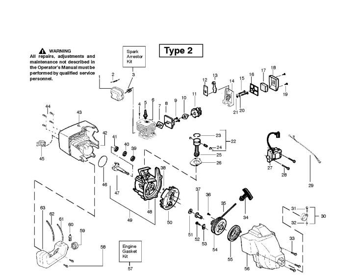 Mcculloch Trim Mac 251 Sst 952715449 Trimmer Engine Spare Parts