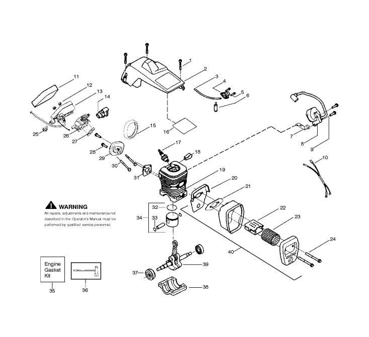mcculloch m3616 (952802208) chainsaw engine spare parts diagram  husqvarna chainsaw engine diagram #15