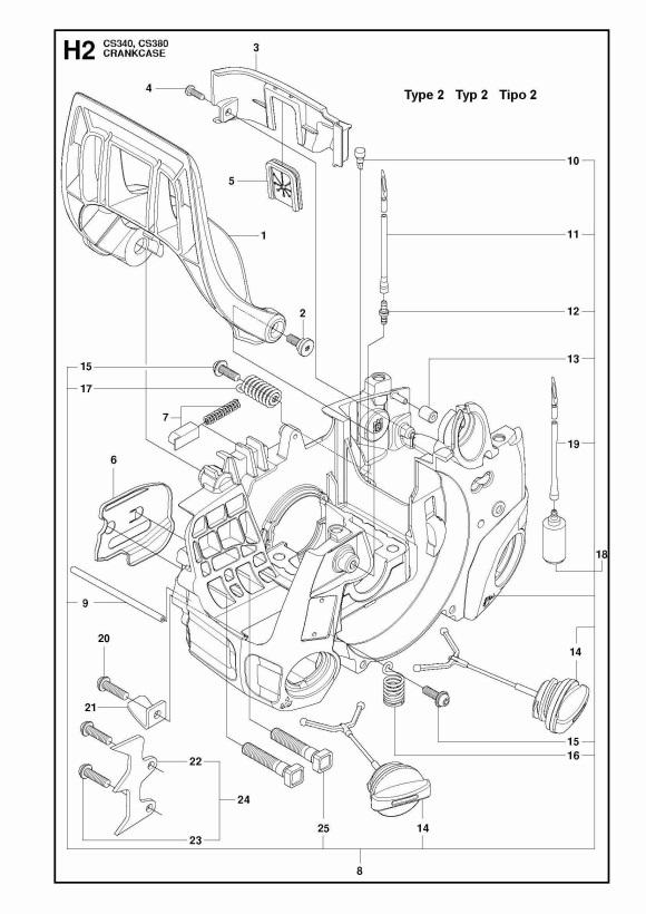 Mcculloch Cs380 967326307 Chainsaw Crankcase Spare Parts Diagram