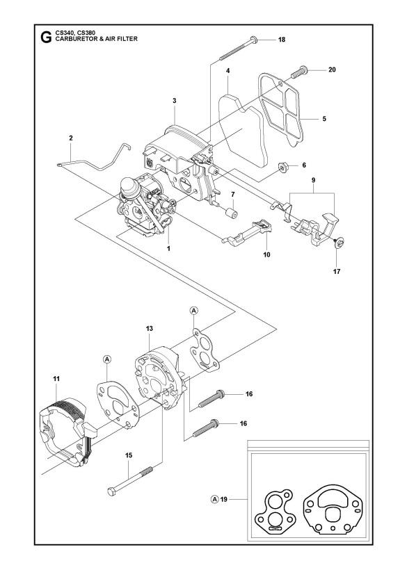 Mcculloch Cs340  966631403  Chainsaw Carburetor  U0026 Air