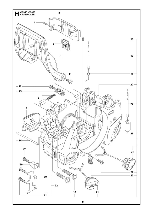 mcculloch cs380  966631503  chainsaw crankcase spare parts diagram McCulloch 3200 Chainsaw Fuel Line Diagram McCulloch 3200 Chainsaw Fuel Line Diagram