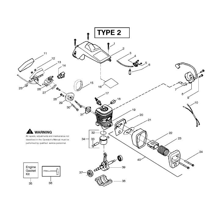 mcculloch mac 2214 av  952802076  chainsaw engine spare