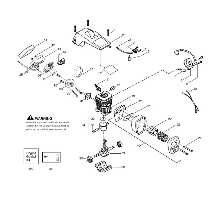 mcculloch mac cat 338  952802051  chainsaw engine spare parts diagram