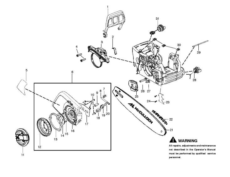 Mcculloch Cs400t 2012 07 Chainsaw Chain Brake Clutch Cover Spare