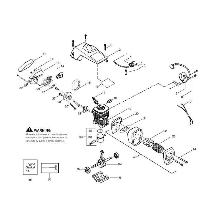 mcculloch m3414  952802207  chainsaw engine spare parts diagram